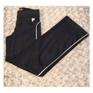 Women's Vintage Fila Track Pants - Black/White - S